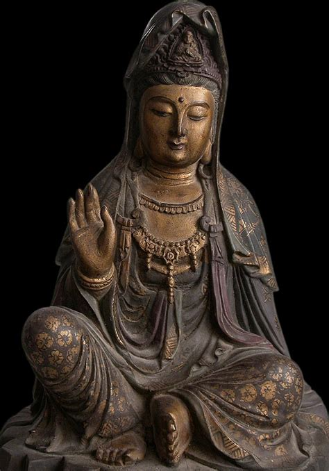 Antique Chinese Carved Guan Yin Camphor Wood Buddha Statue