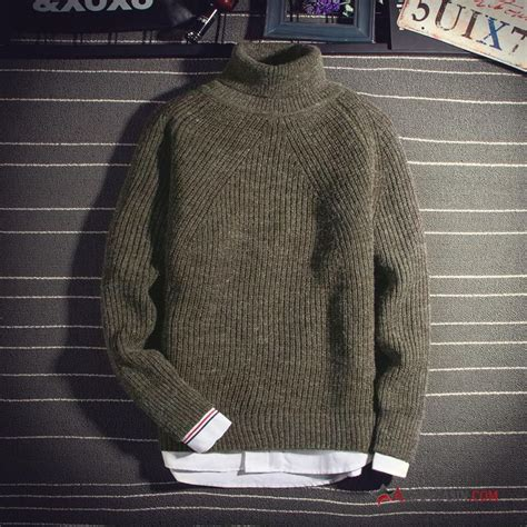 Gros Pull Laine Homme Pullovers Col Haut Hiver Chemise En