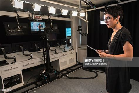 Franceinfo's French journalist Agathe Mahuet works on