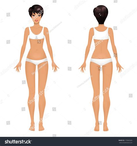 Female Body Template Front Back Stock Vector 175965920