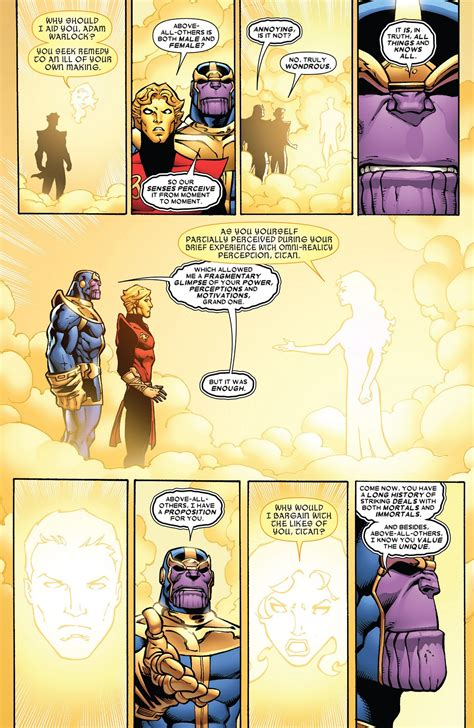 The ONE ABOVE ALL talks to THANOS and ADAM WARLOCK (scans