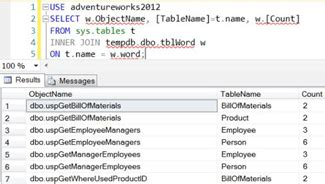 How to find a specific text string in a SQL Server Stored