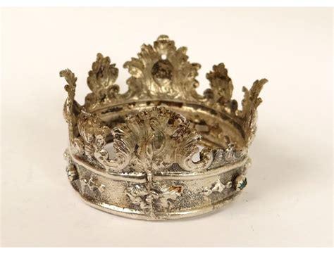 Petite couronne italienne statue Vierge argent massif