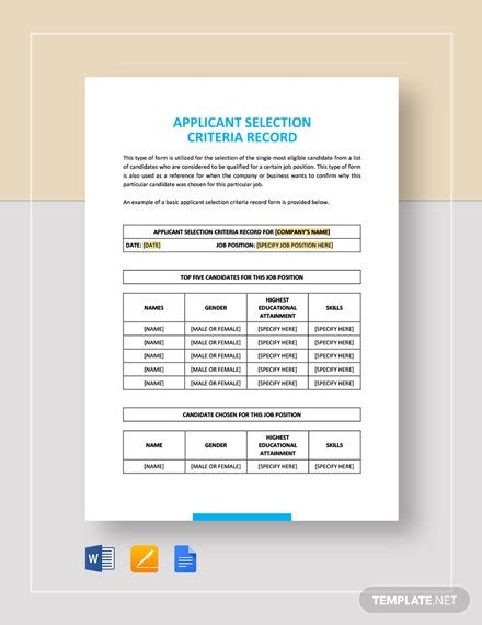 Sample Applicant Selection Criteria Record Template - Word