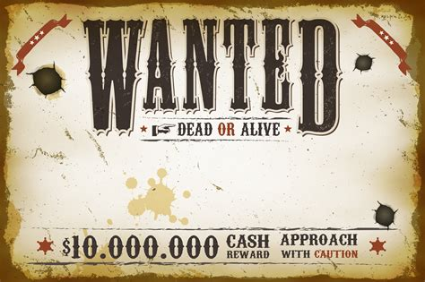Wanted Vintage Western Poster - Download Free Vectors